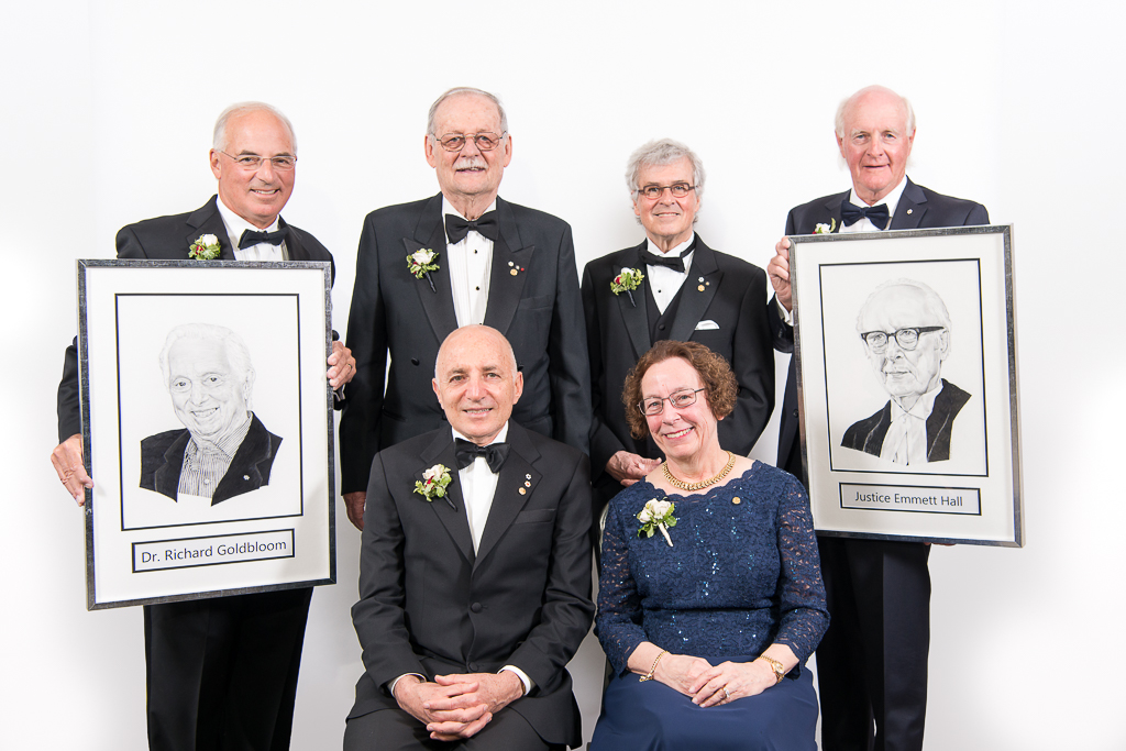 Emmett Hall portrait with 2017 Inductees