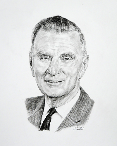 Sketch of Alan C. Burton, PhD