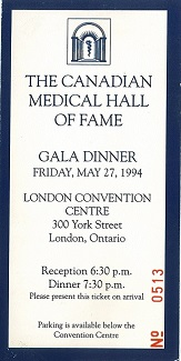 Ticket to 1994 Induction Ceremony